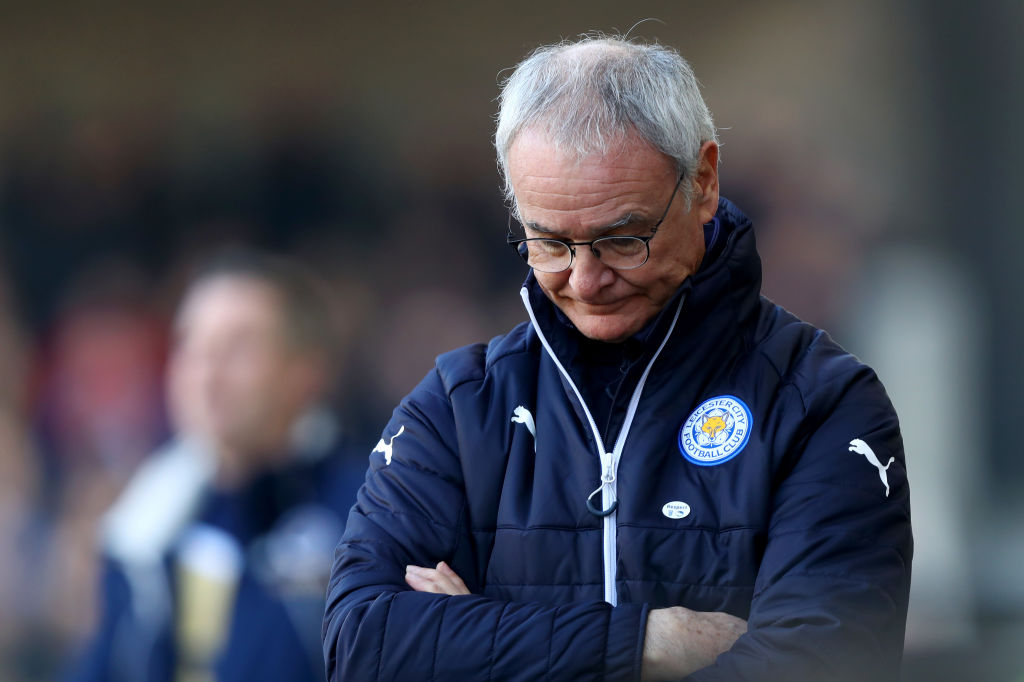 LONDON, ENGLAND - FEBRUARY 18:  Claudio Ranieri, Manager of Leicester City is dejected during The Emirates FA Cup Fifth Round match between Millwall and Leicester City at The Den on February 18, 2017 in London, England.  (Photo by Clive Rose/Getty Images)